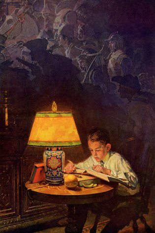boy imagining while reading